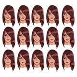 Retratos da mulher beatuful com cabelo marrom ilustração do vetor