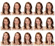 Retratos de la muchacha pecosa con expresiones Imagen de archivo