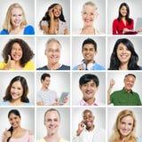 Retratos de la sonrisa del grupo de personas de Multiehnic fotografía de archivo
