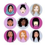 Retratos de las mujeres de la nación del mundo stock de ilustración