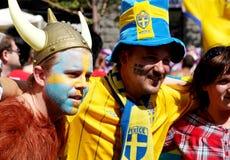 Retratos de los fanáticos del fútbol de Suecia Foto de archivo libre de regalías