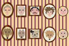 Retratos de miembros de la familia y de sus perros Fotografía de archivo libre de regalías