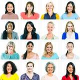 Retratos de mulheres diversas somente fotografia de stock
