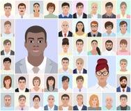 Retratos de povos diferentes, africano, vetor Fotografia de Stock Royalty Free