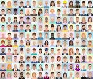 Retratos de povos diferentes, fundo claro, illustra do vetor Foto de Stock