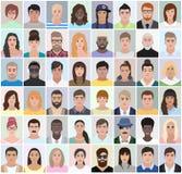 Retratos de povos diferentes, ilustração do vetor Foto de Stock