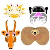 Retratos de vários animais selvagens: Dragão espinhoso, tamari do imperador ilustração stock