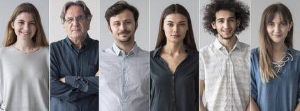 Retratos del collage sonriente de la gente fotografía de archivo libre de regalías