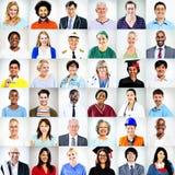 Retratos del concepto mezclado multiétnico de la gente de los empleos fotografía de archivo libre de regalías