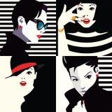 Retratos del grupo de las mujeres de la moda stock de ilustración