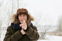 Retratos del invierno de un individuo en naturaleza foto de archivo