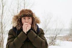 Retratos del invierno de un individuo en naturaleza fotos de archivo libres de regalías