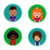 Retratos del vector de niños Iconos avatars Imagen de archivo libre de regalías