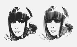 Retratos desenhados mão da menina Imagem de Stock Royalty Free