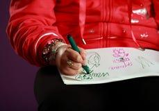 Retratos do desenho da mão da criança Fotografia de Stock Royalty Free