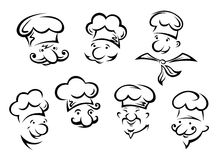 Retratos dos desenhos animados de cozinheiros chefe engraçados Fotografia de Stock