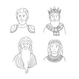 Retratos dos desenhos animados do vetor de povos antigos Imagens de Stock