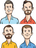 Retratos dos desenhos animados dos homens Imagens de Stock