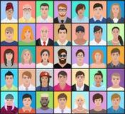 Retratos dos povos de nacionalidades diferentes em um colorido Fotos de Stock