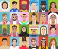 Retratos dos povos de nacionalidades diferentes, illustrat do vetor Imagens de Stock Royalty Free