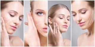 Retratos femeninos hermosos, sanos y jovenes Collage de diversas caras de las mujeres Elevación de cara, skincare, cirugía plásti foto de archivo libre de regalías