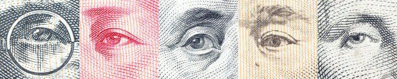 Retratos/imágenes/los ojos del líder famoso en los billetes de banco, monedas de los países más dominantes del mundo fotos de archivo libres de regalías
