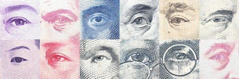 Retratos/imágenes/los ojos del líder famoso en los billetes de banco, monedas de los países más dominantes del mundo fotografía de archivo libre de regalías