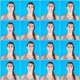 Retratos múltiples de la mujer hermosa en fondo azul Imágenes de archivo libres de regalías