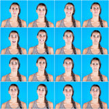 Retratos múltiplos da mulher bonita no fundo azul Imagens de Stock Royalty Free