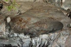 Retratos na parede da caverna Fotografia de Stock