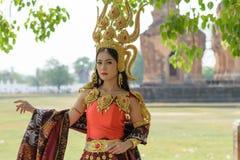 Retratos no conceito Apsara , A legenda da fêmea no ancie Imagem de Stock