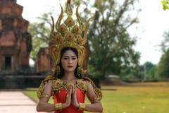 Retratos no conceito Apsara , A legenda da fêmea no ancie Imagens de Stock
