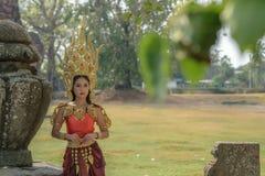 Retratos no conceito Apsara , A legenda da fêmea no ancie Fotos de Stock Royalty Free
