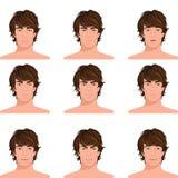 Retratos principales de las emociones del hombre fijados stock de ilustración