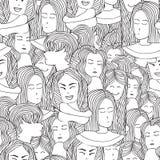 Retratos sem emenda do teste padrão das meninas no estilo gráfico Foto de Stock Royalty Free