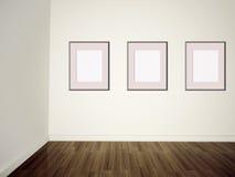 Retratos vazios da galeria da arte moderna em uma parede Fotografia de Stock Royalty Free