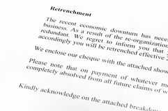Retrenchment Letter Royalty Free Stock Photo