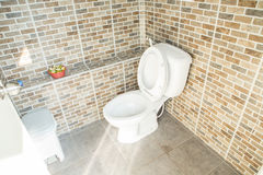 Retrete rasante blanco del cuarto de baño casero en el cuarto de baño foto de archivo