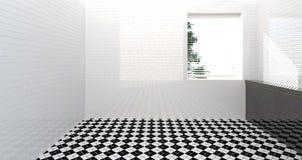 Retrete vacío, ducha, interior del cuarto de baño, ducha, fondo moderno del fregadero del cuarto de baño de la pared 3d del sitio imagen de archivo