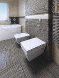 Retrete y bidé en cuarto de baño moderno Foto de archivo