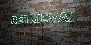 RETRIEVAL - Glowing Neon Sign on stonework wall - 3D rendered royalty free stock illustration Stock Images