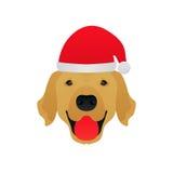 Retriever с Рождеством Христовым собаки золотой иллюстрация штока