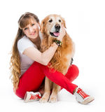 Retriever and girl Stock Photo