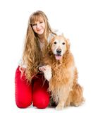Retriever and girl Stock Photography