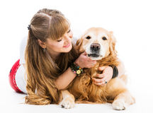 Retriever and girl Royalty Free Stock Images