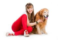 Retriever and girl Stock Photo