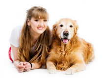 Retriever and girl Royalty Free Stock Image