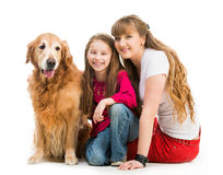 Retriever and girls Royalty Free Stock Images