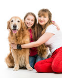 Retriever and girls Stock Images