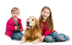 Retriever and kids Royalty Free Stock Images